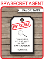 Printable Spy Party Favor Tags Template | Thank You Tags | Secret Agent Birthday Party | DIY Editable Text | INSTANT DOWNLOAD $3.00 via SIMONEmadeit.com