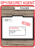 Spy Party Invitation Folder template | Printable Secret Agent Birthday Party Invite Holder | DIY Editable Text | INSTANT DOWNLOAD $3.50 via SIMONEmadeit.com
