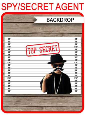 Printable Spy Party Mugshot Backdrop | Top Secret | Secret Agent Birthday Party Photo Booth Background | Printable Template | Party Decorations | Instant Download via SIMONEmadeit.com