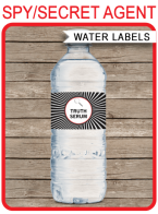 Printable Spy Party Water Bottle Labels Template | Truth Serum | Secret Agent Birthday Party | $3.00 INSTANT DOWNLOAD via SIMONEmadeit.com