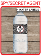 Spy Water Bottle Labels | Secret Agent Birthday Party | Editable DIY Template | $3.00 INSTANT DOWNLOAD via SIMONEmadeit.com