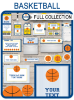 Basketball Printables, Invitations & Decorations – navy blue/yellow