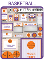 Basketball Printables, Invitations & Decorations – purple/orange