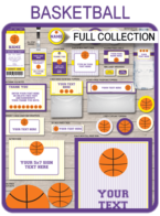 Basketball Printables, Invitations & Decorations – purple/yellow
