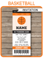 Basketball Ticket Invitations - Editable and Printable Template - Instant Download
