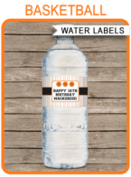 Basketball Party Water Bottle Labels template