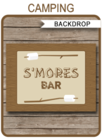 Camping Party S'mores Bar Backdrop | Printable DIY Template | Party Decorations | 36x48 inches | A0 | $4.50 Instant Download via SIMONEmadeit.com