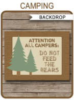 Camping Party Sign Backdrop - Do not Feed the Bears | Printable DIY Template | Party Decorations | 36x48 inches | A0 | $4.50 Instant Download via SIMONEmadeit.com