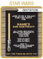 Printable Gold Star Wars Invitations Template | Birthday Party Invites | DIY Editable Text | INSTANT DOWNLOAD $7.50 via SIMONEmadeit.com