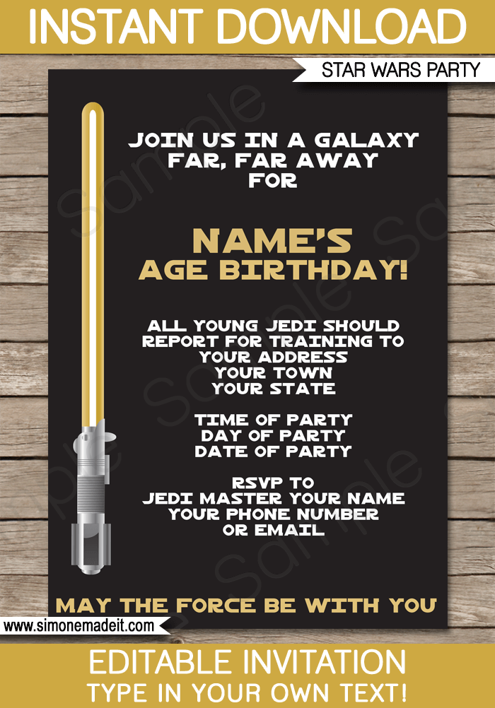 Gold Star Wars Invitations | Lightsaber | Birthday Party | Editable DIY Theme Template | INSTANT DOWNLOAD $7.50 via SIMONEmadeit.com