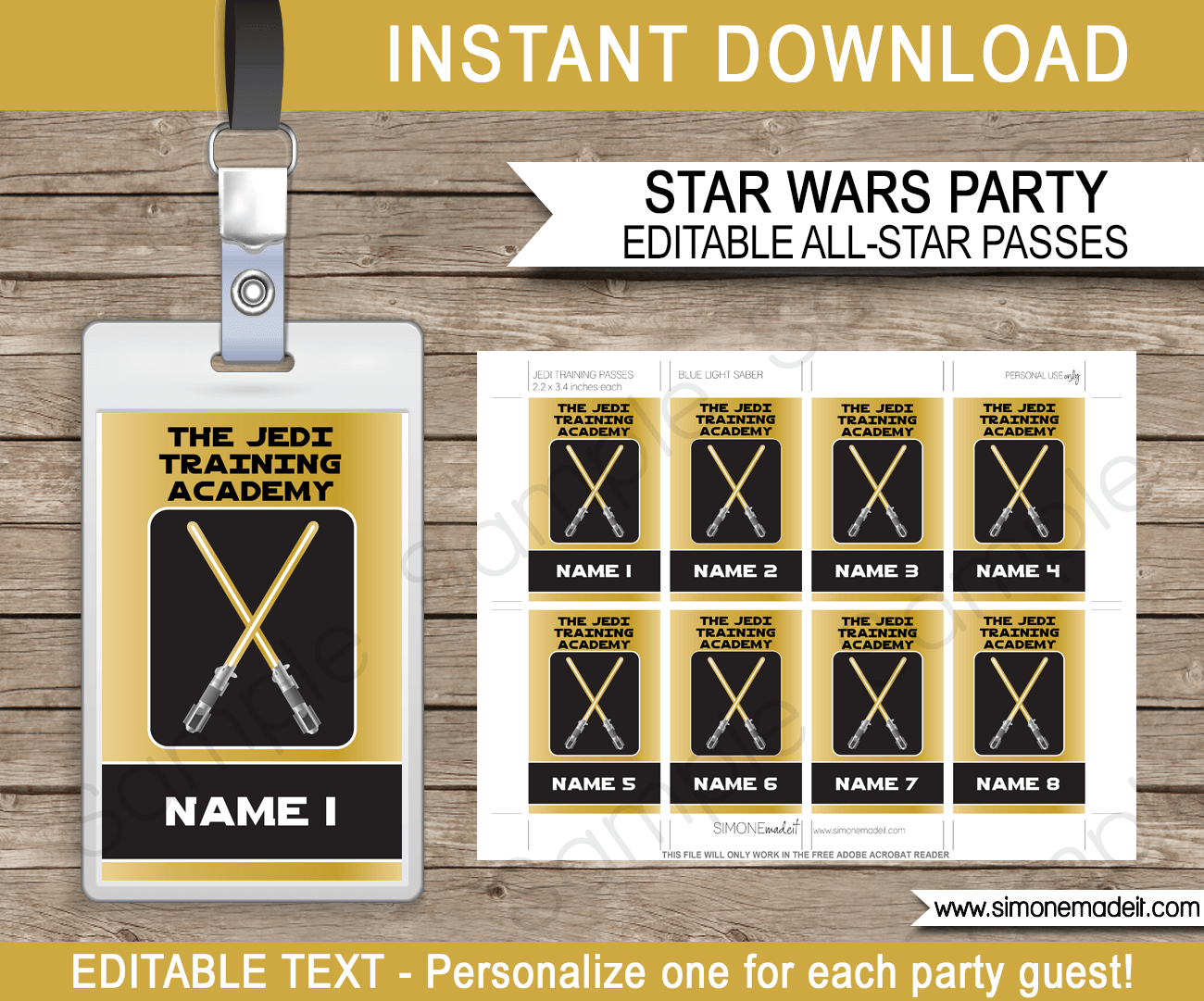 Gold Star Wars Jedi Training  Passes | Printable Inserts | Party Favors | Birthday Party | Editable DIY Template | $3.50 INSTANT DOWNLOAD via SIMONEmadeit.com