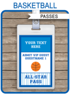 Basketball VIP Pass template – navy/blue