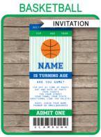 Basketball Ticket Invitation Template – navy blue/green