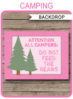 "Camping Party Backdrop – ""Do Not Feed the Bears"" – 36×48 inches + A0 – pink"