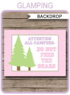"Glamping Party Backdrop – ""Do Not Feed the Bears"" – 36×48 inches + A0 (Copy)"