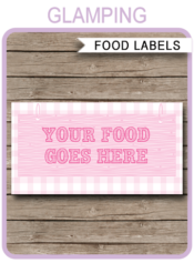 Glamping Party Food Labels | Food Buffet Cards | Place Cards |Printable Party Decorations | DIY Editable template | $3.00 Instant Download via simonemadeit.com