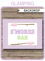 "Glamping Party Backdrop – ""S'mores Bar"" – 36×48 inches + A0"