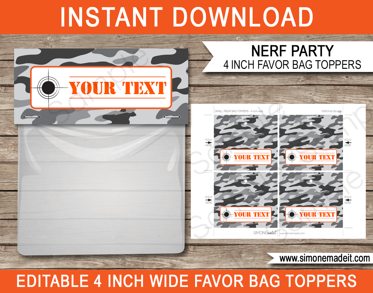 Nerf Party Favor Bag Toppers | Nerf Birthday Party Favors | Editable DIY Template | $3.00 INSTANT DOWNLOAD via SIMONEmadeit.com