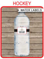 Hockey Party Water Bottle Labels template – red/black