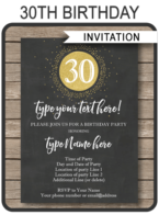 30th Birthday Invitations template – gold
