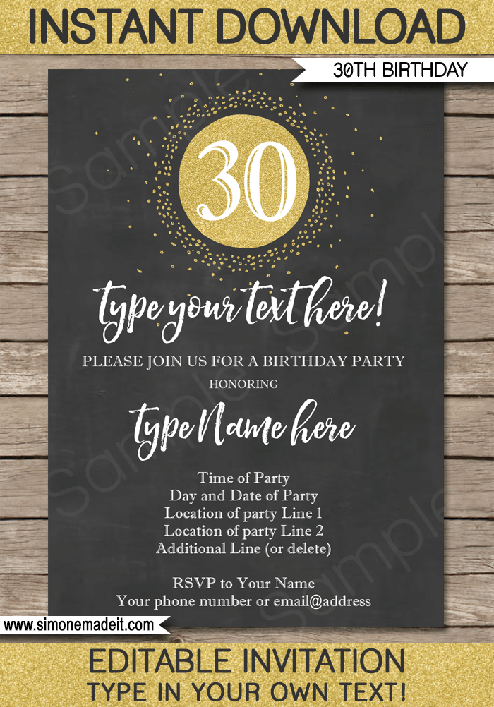 Chalkboard 30th Birthday Invitations Template Gold Glitter