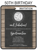 50th Birthday Invitations template – silver