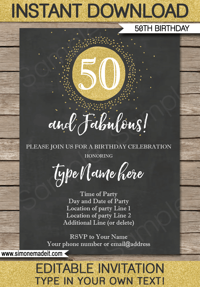 Chalkboard 50th Birthday Invitations Template Editable Printable Diy