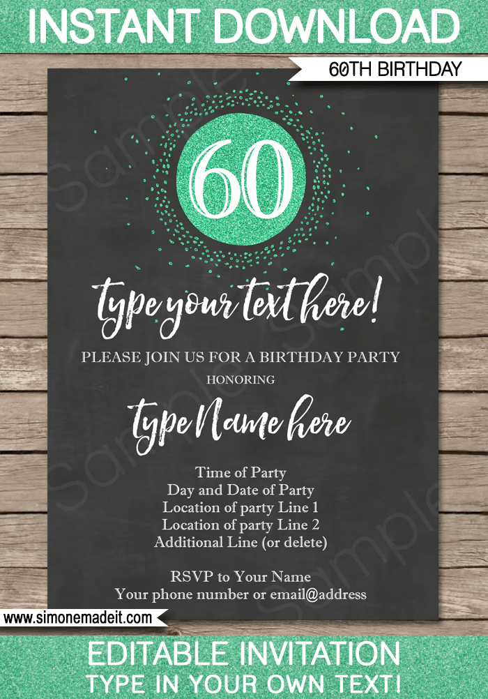 chalkboard 60th birthday invitations template editable printable diy. Black Bedroom Furniture Sets. Home Design Ideas