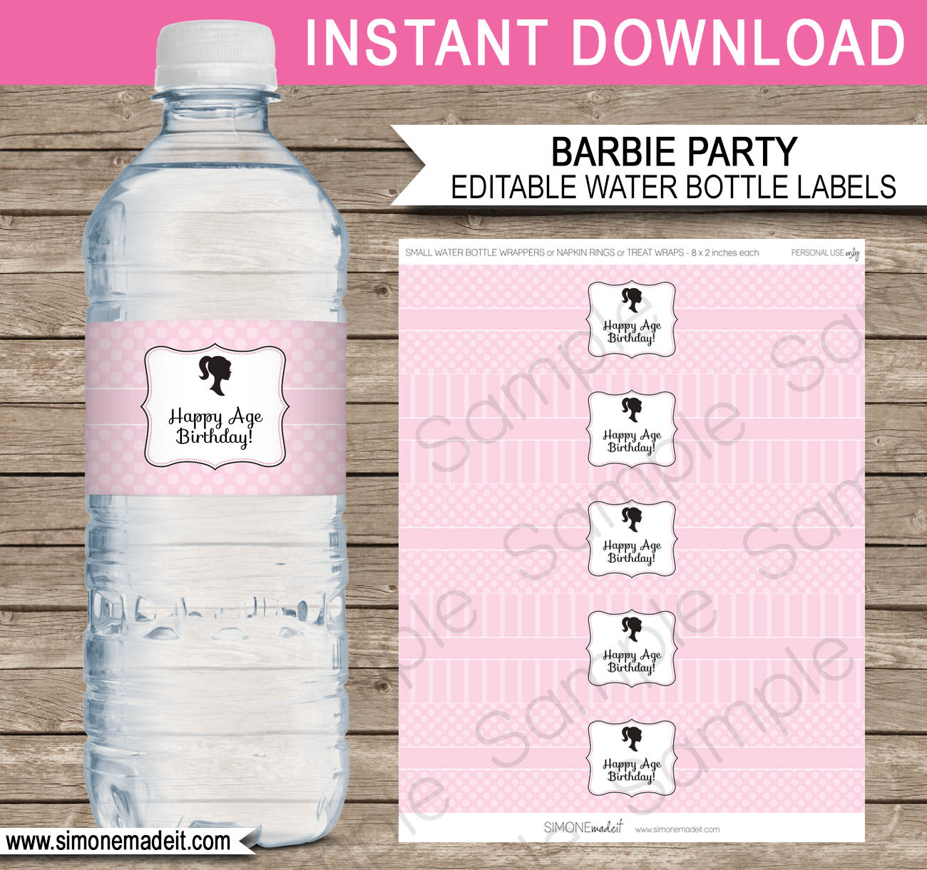 Pink girl camping party water bottle labels | editable template.