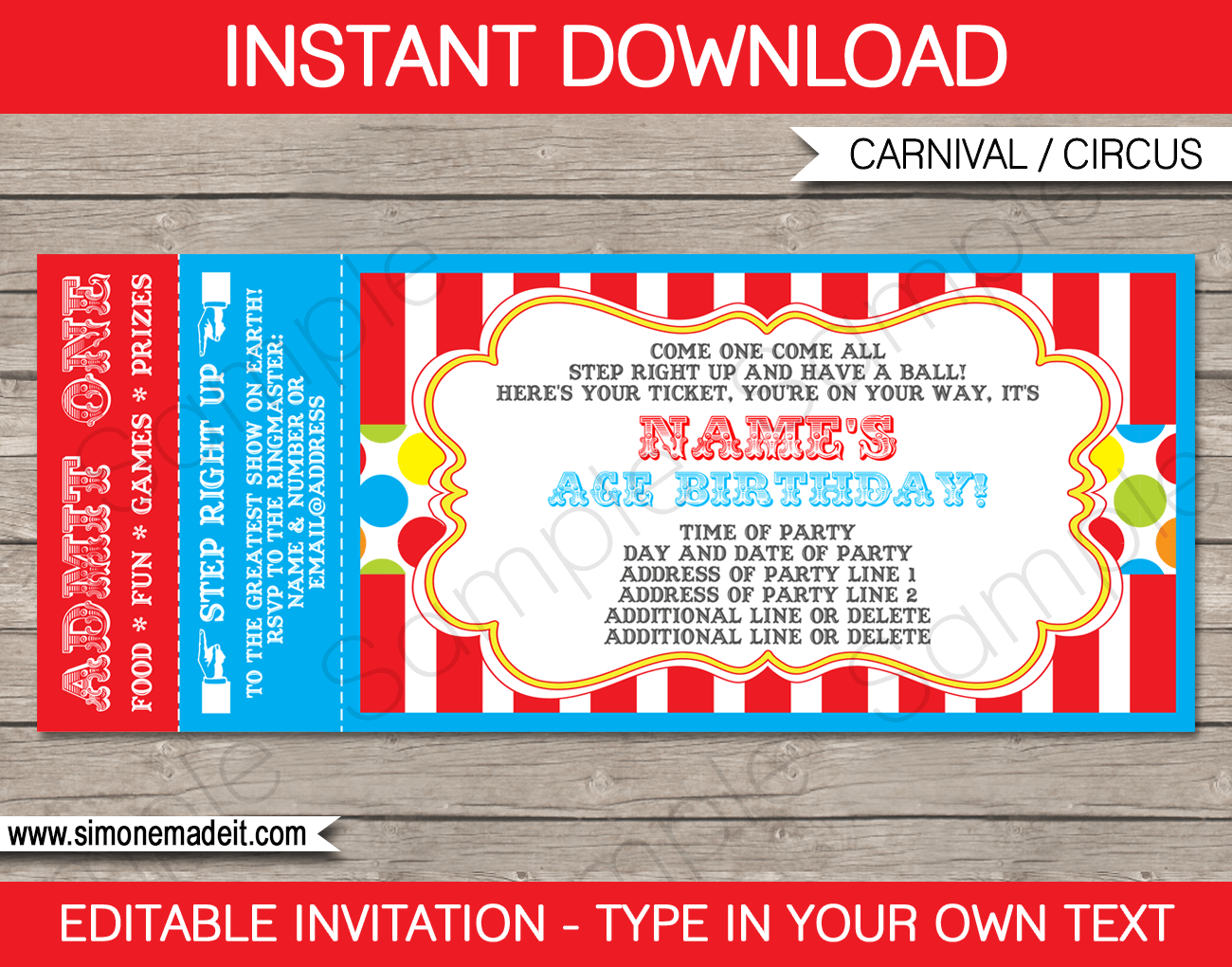 carnival ticket invitation template carnival or circus party