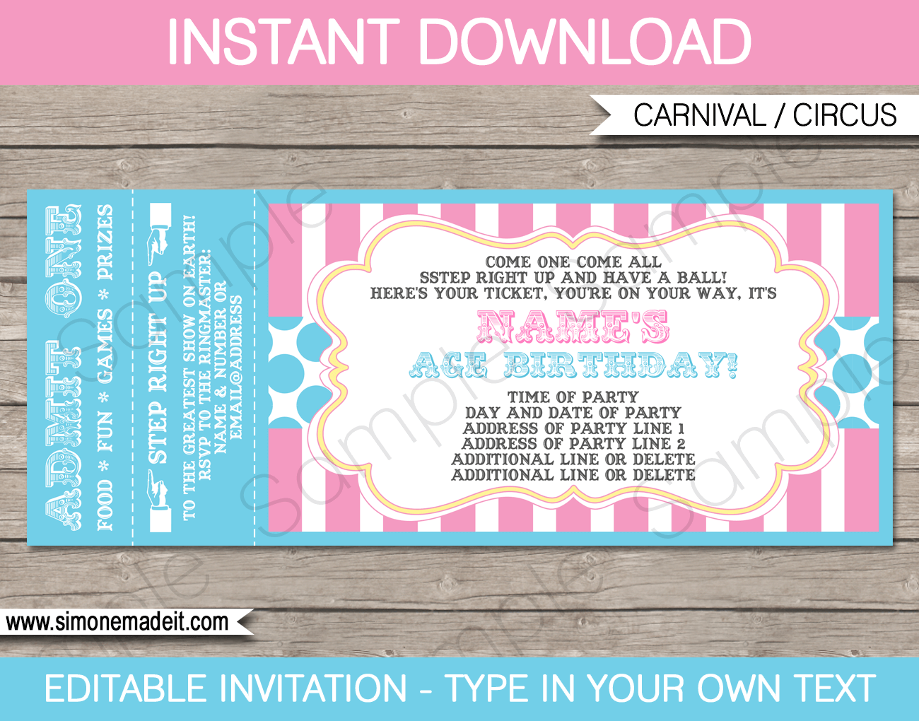 carnival party ticket invitations template carnival party circus party pink aqua