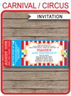 Carnival Ticket Invitation Template | Carnival Party | Circus Party | Editable and Printable | INSTANT DOWNLOAD $7.50 via simonemadeit.com