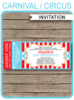 Circus Ticket Invitation Template | Carnival Party | Circus Party | Editable and Printable | INSTANT DOWNLOAD $7.50 via simonemadeit.com