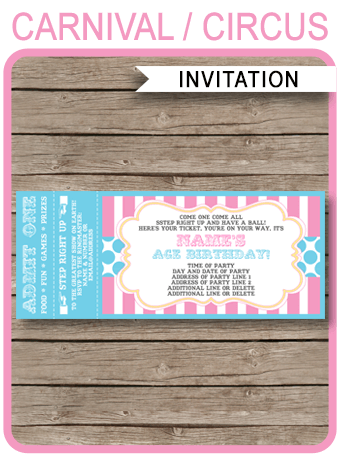 Carnival Party Ticket Invitations Template | Carnival Party | Circus Party | Pink & Aqua | Editable and Printable | INSTANT DOWNLOAD $7.50 via simonemadeit.com