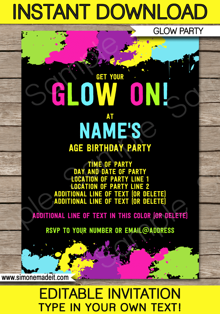 Neon Glow Party Invitations Template | Editable & Printable DIY Template | INSTANT DOWNLOAD $7.50 via simonemadeit.com