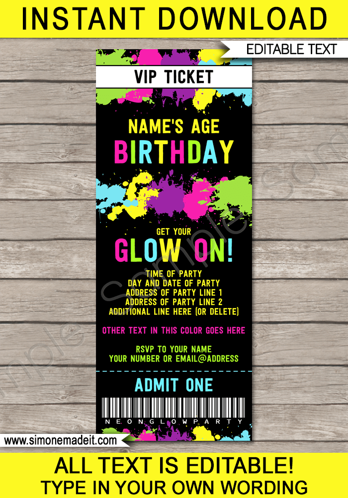 Neon Glow Party Ticket Invitation Template – Ticket Invitation Template