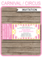 Carnival Ticket Invitation template – pink/yellow 2