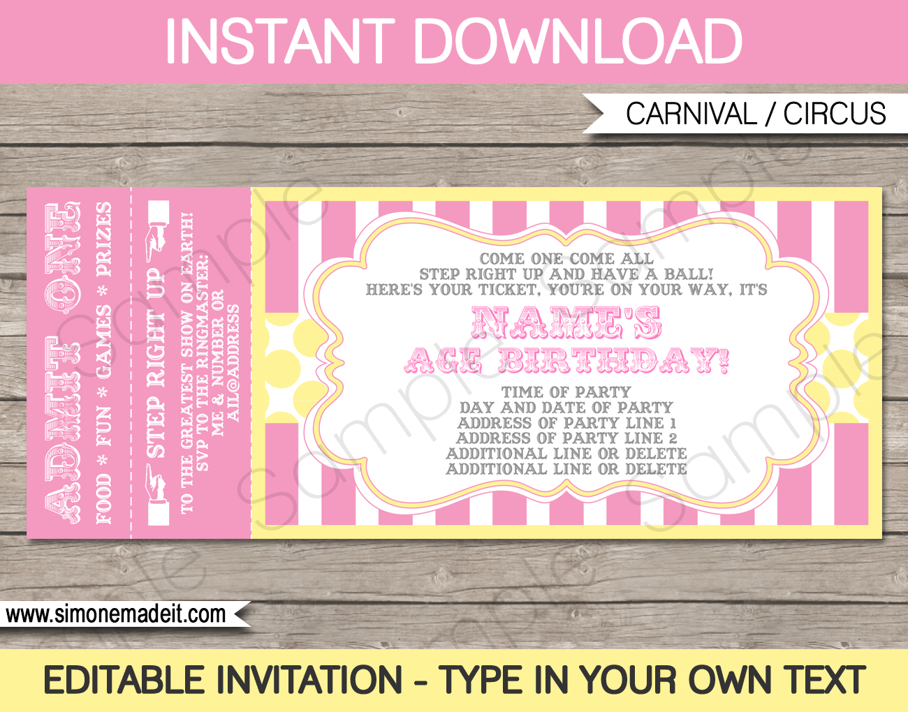 Carnival Birthday Ticket Invitations Template | Carnival Party | Circus Party | Pink & Yellow | Editable and Printable | INSTANT DOWNLOAD $7.50 via simonemadeit.com