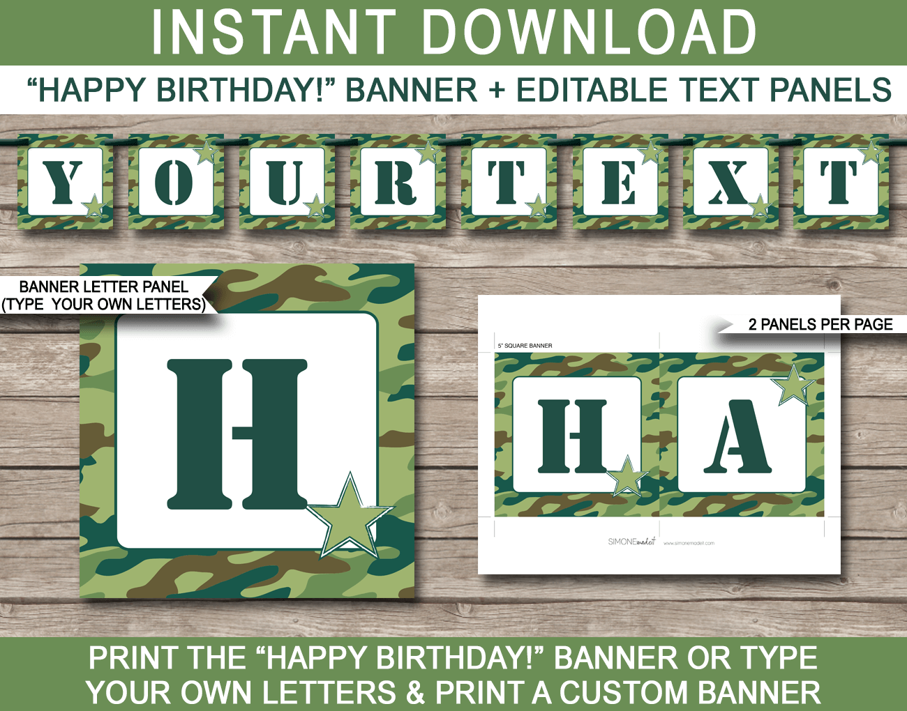 Army Camo Banner Template - Camo Bunting - Happy Birthday Banner - Birthday Party - Editable and Printable DIY Template - INSTANT DOWNLOAD $4.50 via simonemadeit.com