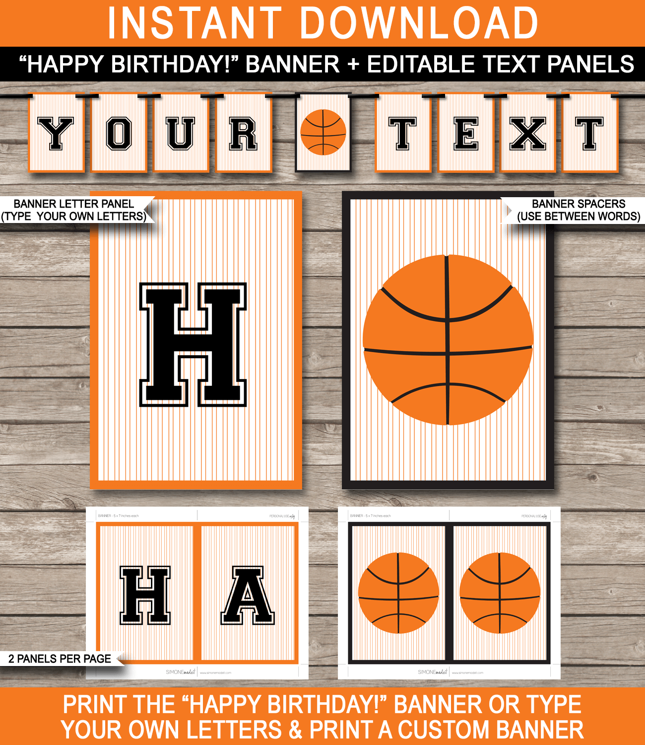 Basketball Party Banner Template  Birthday Banner  Editable Bunting