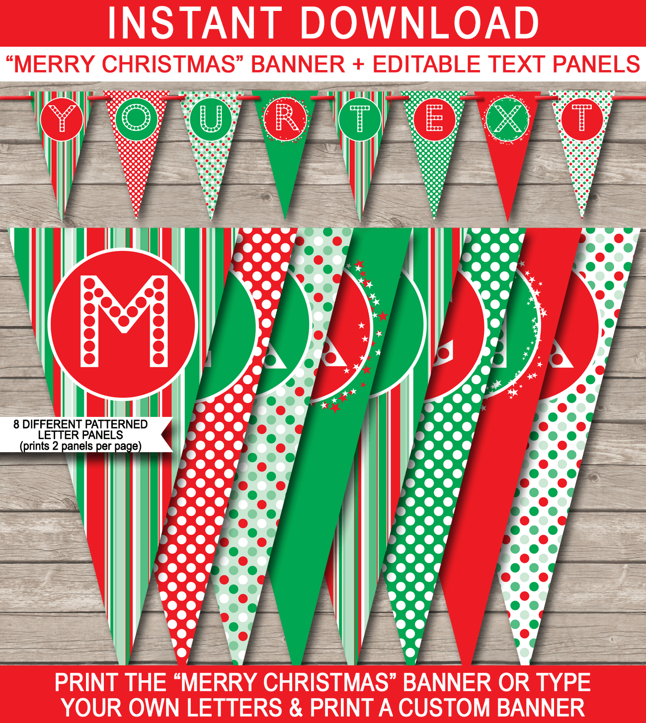 Christmas Banner Template | Merry Christmas Banner | Editable Bunting