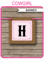 Cowgirl Banner Template - Happy Birthday Banner - Birthday Party - Editable and Printable DIY Template - INSTANT DOWNLOAD $4.50 via simonemadeit.com