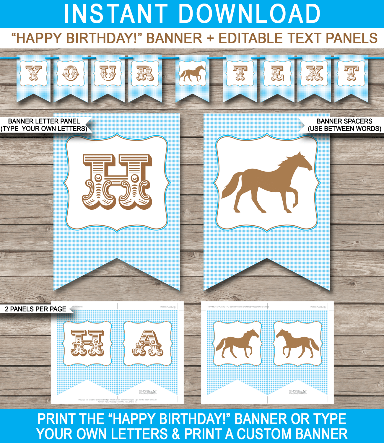 Horse Or Pony Party Banner Template Blue