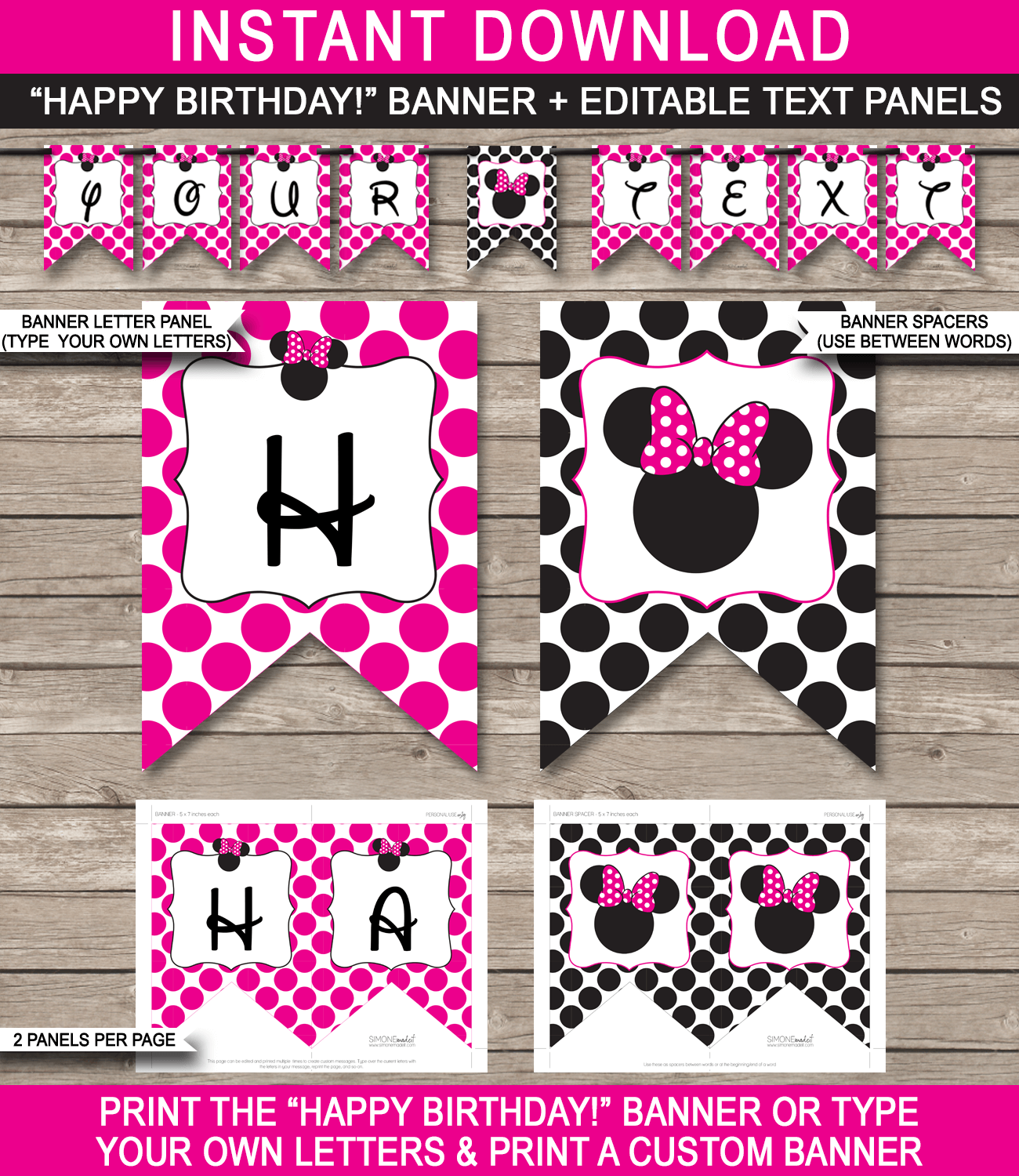 Minnie Mouse Party Banner Template - Pink - Minnie Mouse Bunting - Happy Birthday Banner - Birthday Party - Editable and Printable DIY Template - INSTANT DOWNLOAD $4.50 via simonemadeit.com