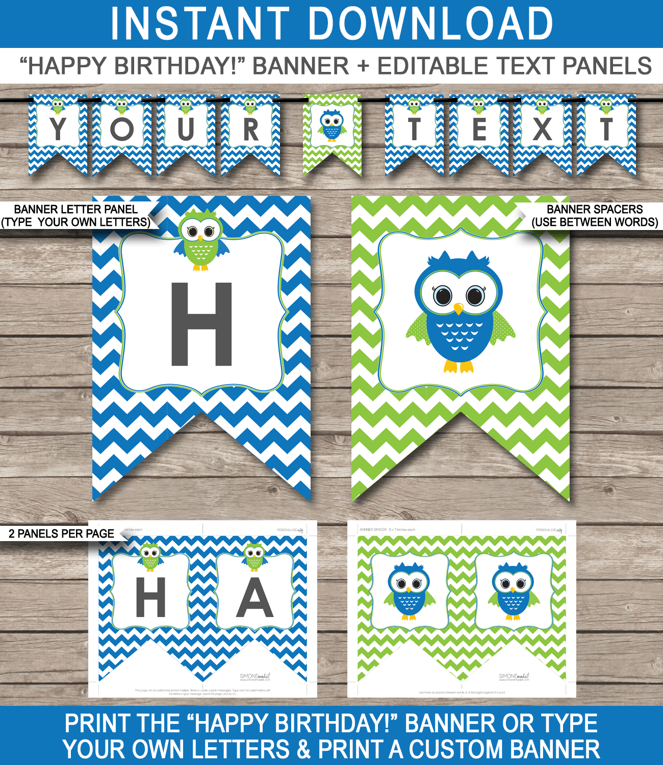 blue owl party banner template birthday banner editable bunting