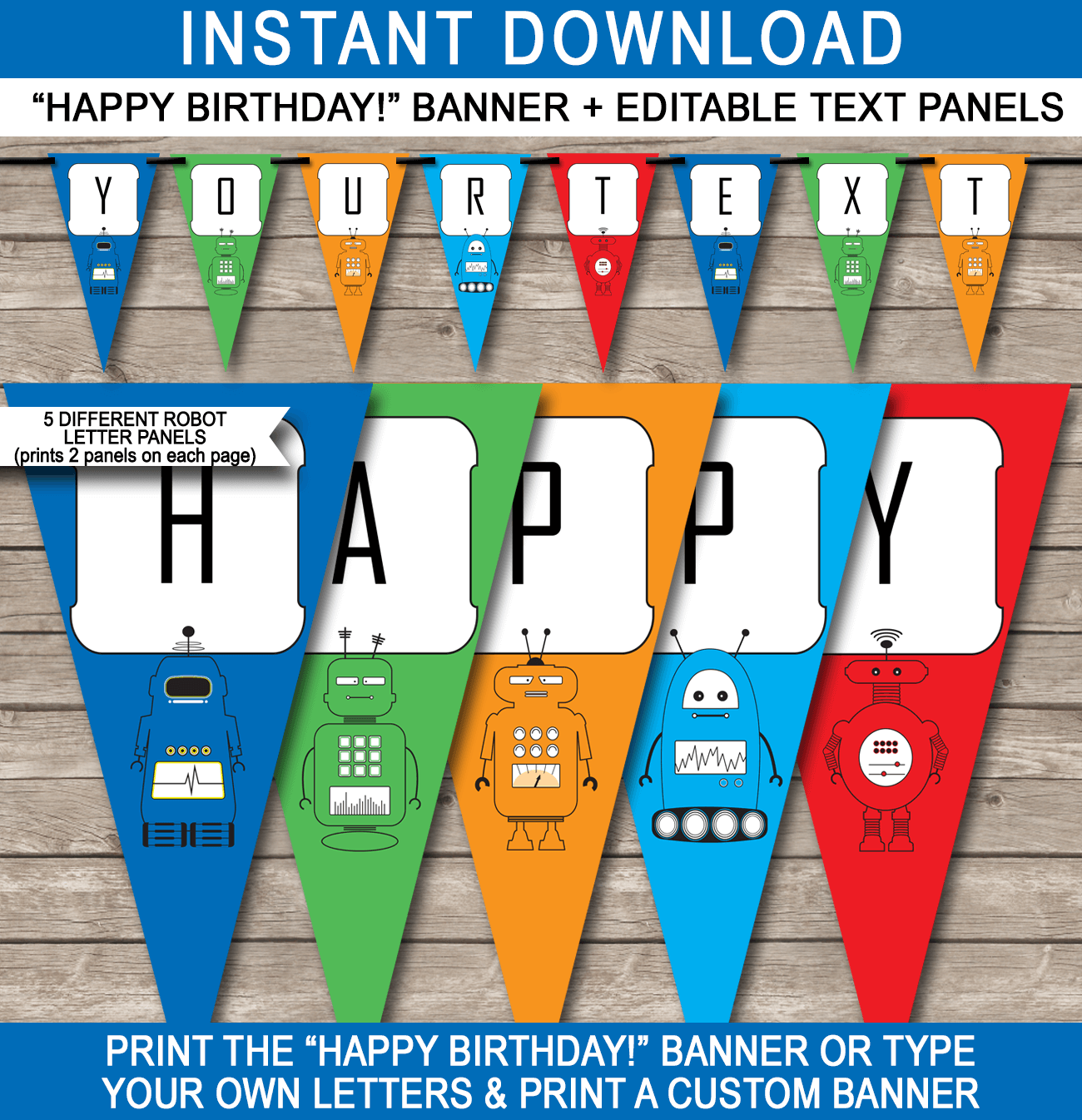 Robot Party Banner Template | Birthday Banner | Editable Bunting