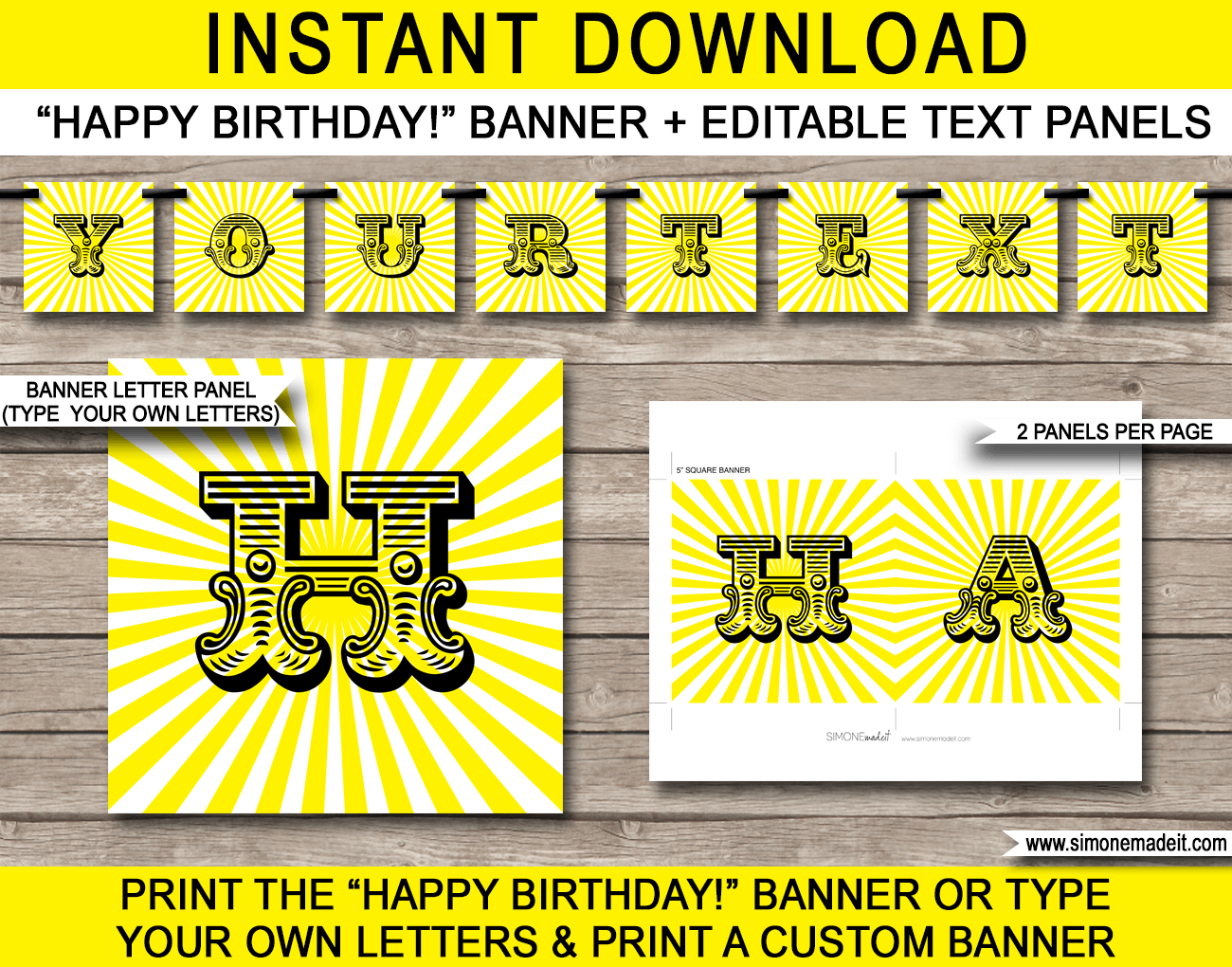 Sunshine-Party-Banner-Template-Bunting-Editable-text Letter A Airplane Craft Template on airplane crafts template, airplane printables template, airplane black and white template,