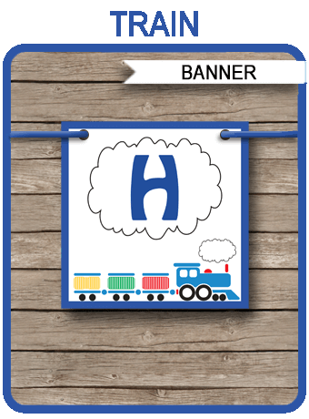Train Party Banner template