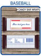 Baseball Hershey Candy Bar Wrappers template – cursive font