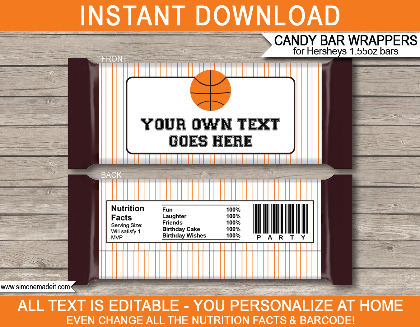 personalized candy bar wrapper template